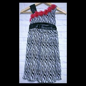 Girls Zebra &Pink Belted Sleeveless Dress Size 6